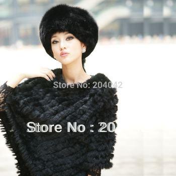 2014 New Fashion Free Shipping Knitted Rabbit Fur Cape Rex Rabbit Fur Poncho Pullover Cloak Runway Q121015-6