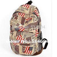 American Flag Paper Backpack Girls Vintage Retro Canvas Backpack Travel,Casual School Student Backpack,Shoulder Bag #9034