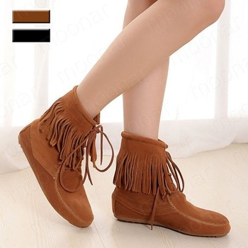 Free shipping, HOT!woman's Genuine Leather  Ankle Boots with tassel black and camel XZ015