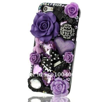 Hard phone Cover Case for iphone 5 5G,fashion Crystal Rhinestone rose flower comb mirror handbag bowknot,4 colours,Free shipping