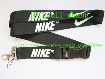 Free shipping Hot  10pcs black Sport Logo Lanyard for MP3/4 cell phone key  DS lite WHOLESALE