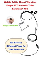 Free Shipping Good Quality Walkie Talkie Throat Vibration Finger PTT Acoustic Tube Earphone+MIC (Different Plugs for Selection)