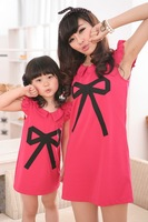Free Shipping! fashion family fashion clothes for mother and daughter bow decoration one-piece dress