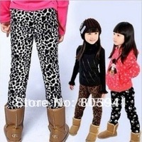 Freeshipping Footprint Girls Thick winter Leggings warm girls leggings for girls children leggings