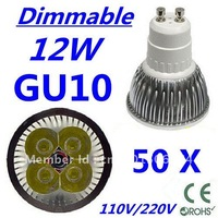 50pcs Dimmable LED High power GU10 4x3W 12W led Light led Lamp led Downlight led bulb spotlight FREE FEDEX and DHL