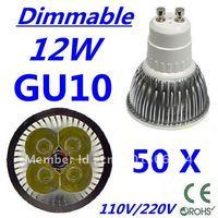 50pcs Dimmable LED High power GU10 4x3W 12W led Light led Lamp led Downlight led bulb spotlight FREE FEDEX and DHL