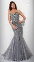 Wholesale - custom sexy strapless mermaid beaded stone grey RuanWang American wedding gown