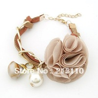 2014 Hot costume korean jewelry big flower ,pearl and stone charms bracelet,free shipping