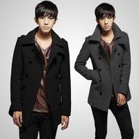New Men Wool Jacket Double Breasted Pea Coat Mens Warm Jacket For Spring Korea Winter Fashion Jackets