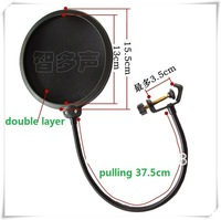 FREE SHIPPING Studio Double layer Wind Screen Clamp On Microphone Mic Pop Filter Mask Shied