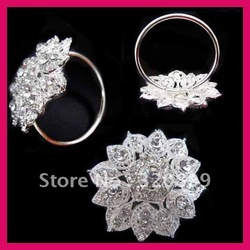 2013 New! 2inch/50mm New Style Wedding Flower Rhinestone Napkin Rings ,Napkin Holders /Wholesale(China (Mainland))