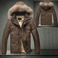 2013 Autumn Winter Mens Warm 90% Duck Down Jacket Coat With Fur Collar Hood , Long Sleeve Thick Outerwear Jackets Coats For Men