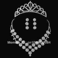 Free Shipping Hot Sale Fashion Rhinestones Wedding Jewelry Sets Handmade Bridal Accessories Women Costume Necklace set