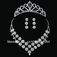 Free Shipping Hot Sale Fashion Rhinestones Wedding Jewelry Sets Handmade Bridal Accessories Women Costume Necklace set