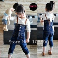 Free shipping size;100-140 new children bule overalls cheap 3-7 yrs baby girls kids jeans  girl cowboy braces trousers