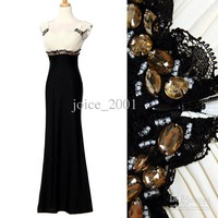 Actual picture V-neck Ruffle Applique Rhinestone white and black Beaded prom dresses party gown ACT031