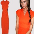 Free shipping victoria beckham orange/blue V-neck Stretch Cotton Pencil Zipper back knee-length long Celebrity Dress xxl vb006