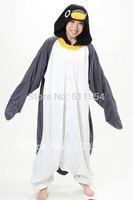 Free Quick Shipping One Piece Grey and Black Penguin Halloween and Christmas Pajamas Costume Dress and Animal Pajamas Onesie