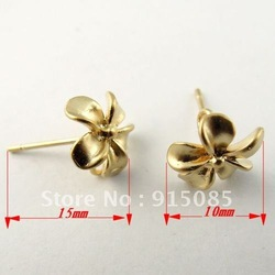 Fashion Matte Gold Bass Cute Little Flower Earring Stud Earrings Finding 15*10mm 14pcs 30075(China (Mainland))