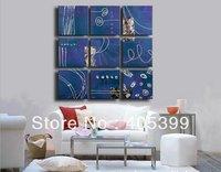Oversized 9 pcs Set Group Real  Handmade Modern Canvas Oil Painting Wall Art ,Free Shipping Worldwide JYJD022