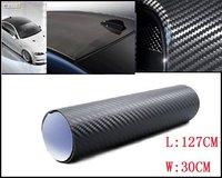 Free shipping 3D Car Carbon Fibre 60cm x127cm Auto Carbon Fibre sticker Vinyl Sheet BLACK For All Car