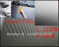 Silver 60cm x127cm Color 3D Car Carbon Fibre sticker  Vinyl Sheet BLACK For All Car Free Shipping
