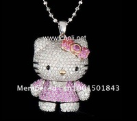 Free Shipping, hello kitty wholesale, hello kitty jewelry with free jewelry gift in pink color -12pcs a lot