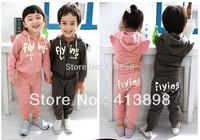 winter and autumn female child cartoon sets 2014 fashion sports suit baby child  clothing sweatshirt casual set