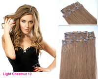 "7 pcs 120g  #2 dark brown clip in on full head remy real 100% human hair extensions Straight16"" 26"" 28"" free shipping"