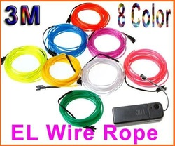 Free Shipping 8Pcs/Lot 3M Flexible Neon Light Glow EL Wire Rope Car Party 8 Colors to Choose(China (Mainland))