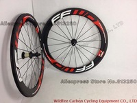 Road Bicycles 60MM Red FFWD F6R conplete carbon bike wheels full carbon fiber wheelset with powerway carbon fiber hub