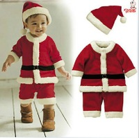 New arrival!! 12 baby christmas clothes baby christmas clothes faux 2-pic suit child romper+ hood