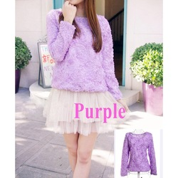 Women Blouse 3D Rose Flowers Mesh Lace Jumper Pullover Shirt Ladies Tops Purple ,Free Shipping Dropshipping(China (Mainland))