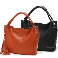 Free shipping,New woman's fashion casual style leather 2 way ues handbag/totes with Tassel B020