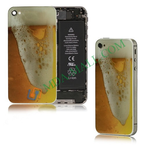 Wholesale Brimming Beer Pattern Glass Battery Cover Back Housing for iPhone4 4S Free Shipping-Gold(China (Mainland))