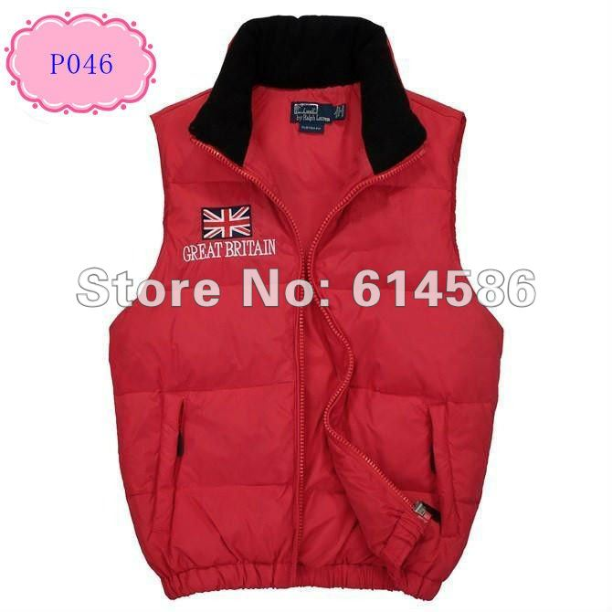 Hot sale Free shipping-New Arrival 2012 Mens POLO down vest, 5 color Great britain flag down vest for men P046 Size M LXL XXL(China (Mainland))