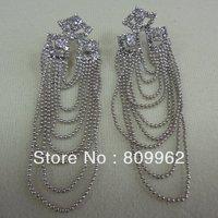 Free shipping 6prs/lot Fashion Bohemian Style Tassel Earrings Crystal Bob Jewelry Long Earrings For Women Wedding Decoration
