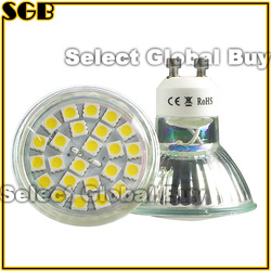 10pcs/Lot 24 LED 5050 SMD GU10 Warm/Day White Light Bulbs Bright(China (Mainland))