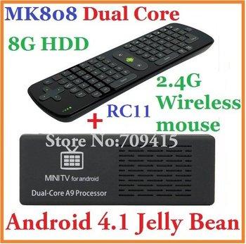 10pcs=5pcs RC11+5pcs mk808 Android TV Box Mini pc RK3066 1.6GHz Cortex-A9 dual core 8G HDD HDMI + RC11 Fly Air Wireless Keyboard