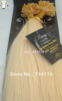 Free shipping 100S Pre Bonded  Nail Tip Fusion Remy Human Hair Extensions For your head 18-26inch platinum blonde #60, 1g/S 100g