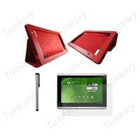 "3in1 For Acer Iconia Tab 10.1""A500 Tablet Flip Stand Red Leather Case Cover+Screen Protector Film Guarder+Stylus Touch Pen#AC331"