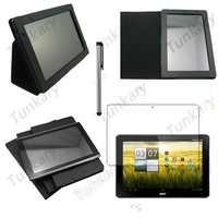"3in1 For Acer Iconia Tab 10.1"" A500 Tablet Stand Leather Black Case Cover+Screen Protector Film Guarder+Stylus Touch pen #AC325"