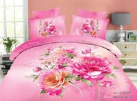 new arrivals romatic 3D pink flower floral bedding sets 4pcs Queen/Full cotton quilt/duvet covers sets