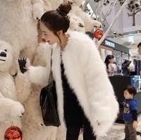 Free shipping 2014 fur coat  fashion artificial fur cape  fur outerwear fashion female medium long faux fur coat women's jacket