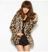 Free shipping thickening long-sleeve hooded fur coat leopard print outerwear thermal female faux fur coat