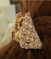 New 2014 pearl hair accessories rhinestone hair claw created diamond hair accessory christmas sale discount hair clip