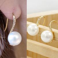 2014  fashion pearl earring accessories stud earring accessories gentlewomen rhinestone pearl earring earrings