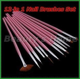 Freeshipping-12 in 1 Nail Art Design Brushes Gel Set Painting Draw Pen Polish Wholesales #0069