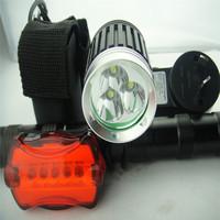 Free Shipping 4000 Lumens 3x CREE XML XM-L T6 LED Bicycle Bike Front light lamp HeadLamp HeadLight 8.4v  Battery Rear light