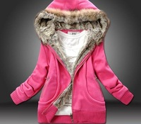 2014 New arrival Hot seller Fashion Style  Warming Pattern Thicken Hooded Coat Rose JR00816